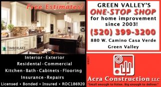 Green Valley S One Stop For Home Improvement Since 2003 Acra Construction Llc Az